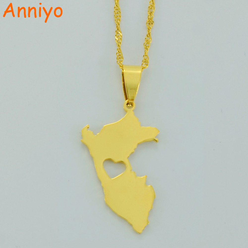 цена на Anniyo Peru Map Pendant Necklaces for Women/Men Gold Color Map of Peru Jewelry Peruvian #006121