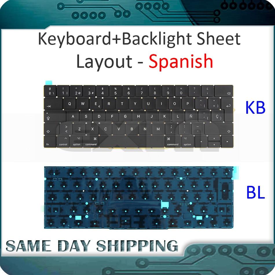 New Laptop A1706 Keyboard Spanish Spain SP w/ Backlight for MacBook Pro 13.3 Retina A1706 2016 2017 MLH12 MPXV2 EMC3071 EMC3163
