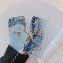 Vintage Marble Epoxy Phone Cases For iPhone XS Max XR X 6 6S 7 8 Plus  Gold Powder Graphic Reef Ring Bracket Soft Back Cover