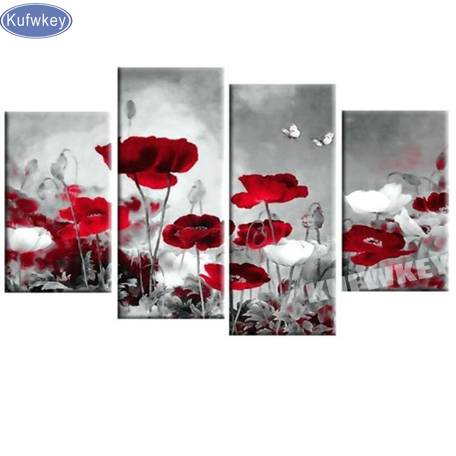 Red poppy abstract diamond painting cross stitch kits full square drill diamond embroidery rhinestones diamand painting 4pcs setRed poppy abstract diamond painting cross stitch kits full square drill diamond embroidery rhinestones diamand painting 4pcs set
