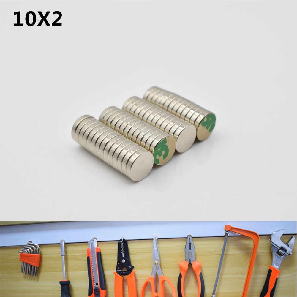 Bộ 50 10x2mm kèm keo dán băng N52 Thanh Khối vòng tròn nhỏ mạnh Nam Châm 3 M keo 2 mặt nam châm Vĩnh Cửu