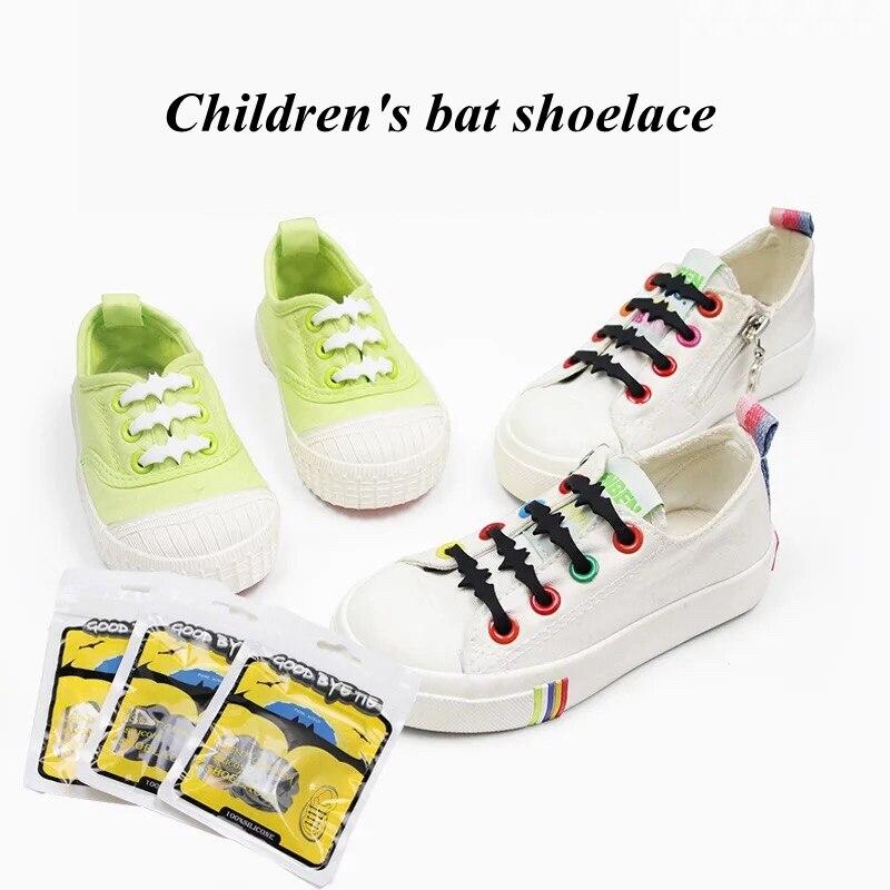 12 шт./компл. силиконовые обувь эластичные Пластик без галстука белый черный серый силиконовый lacci детская Bat Форма резиновые шнурки для боти...