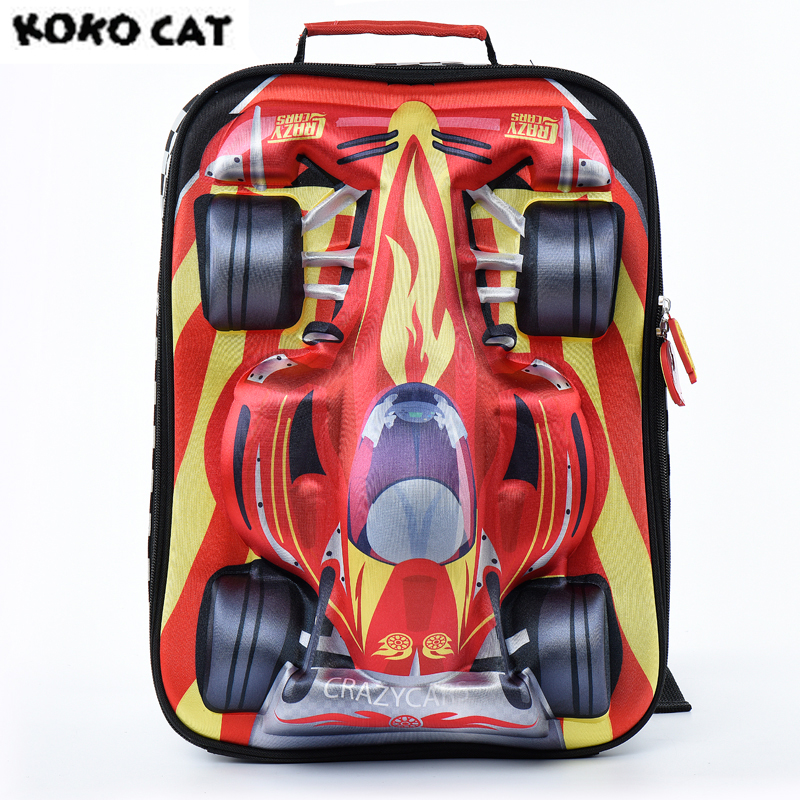 2017 Cartoon 3D Kids Children School Backpack Cool Gold Car Bags Boys Bookbag  School Backpacks for Teens Boy Student Schoolbag
