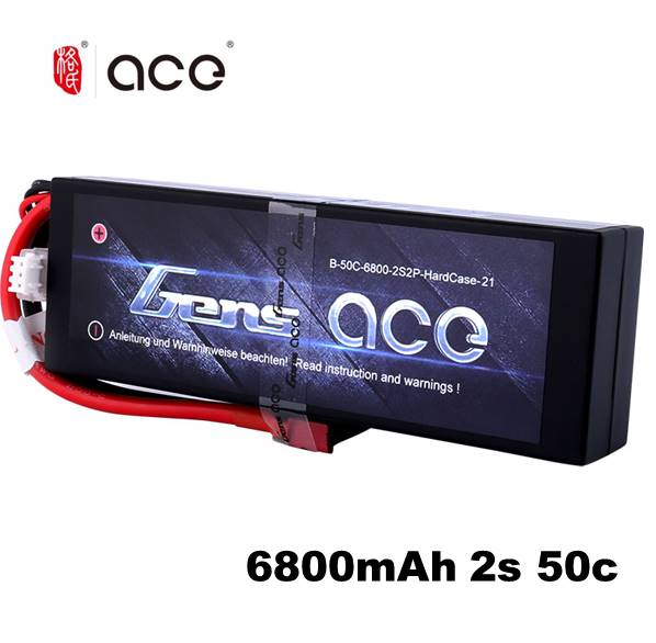 Gens Ace 2S Lipo Battery 6800mAh 7.4V Batteria Pack 50C Deans Connector For Axial RC Car 1/8 1/10 Hardcase High Discharge