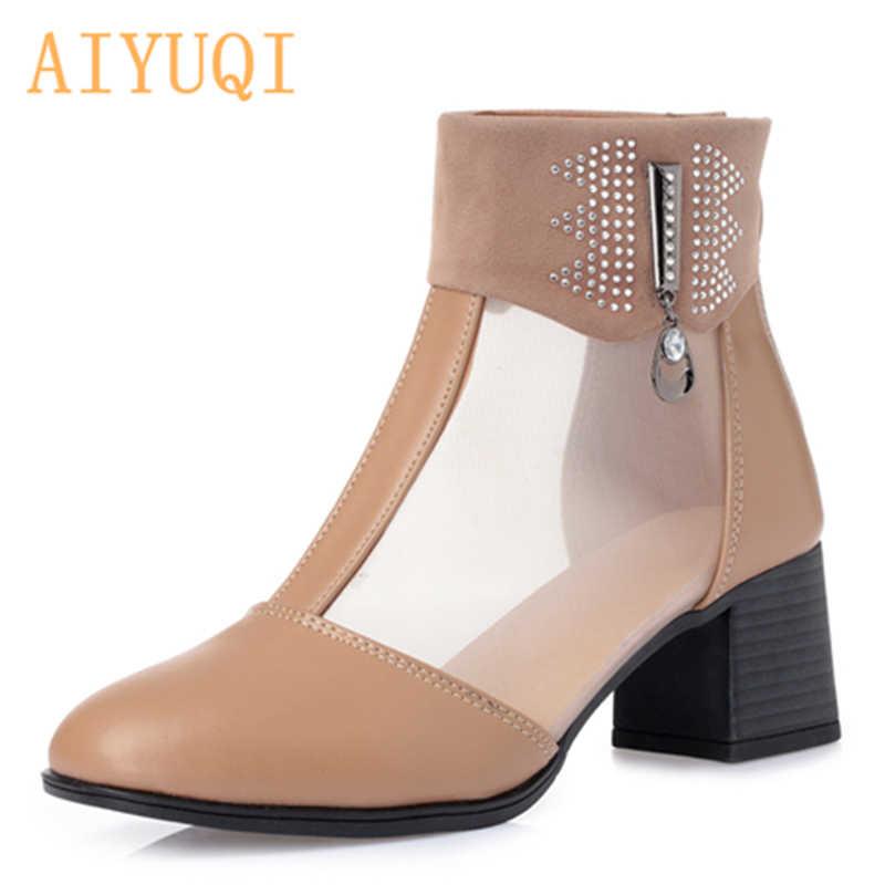 AIYUQI Kadın yaz hakiki Deri Botlar, seksi Mesh nefes Brogue Ayak Bileği Motosiklet Botları Moda sandalet ayakkabı oymak