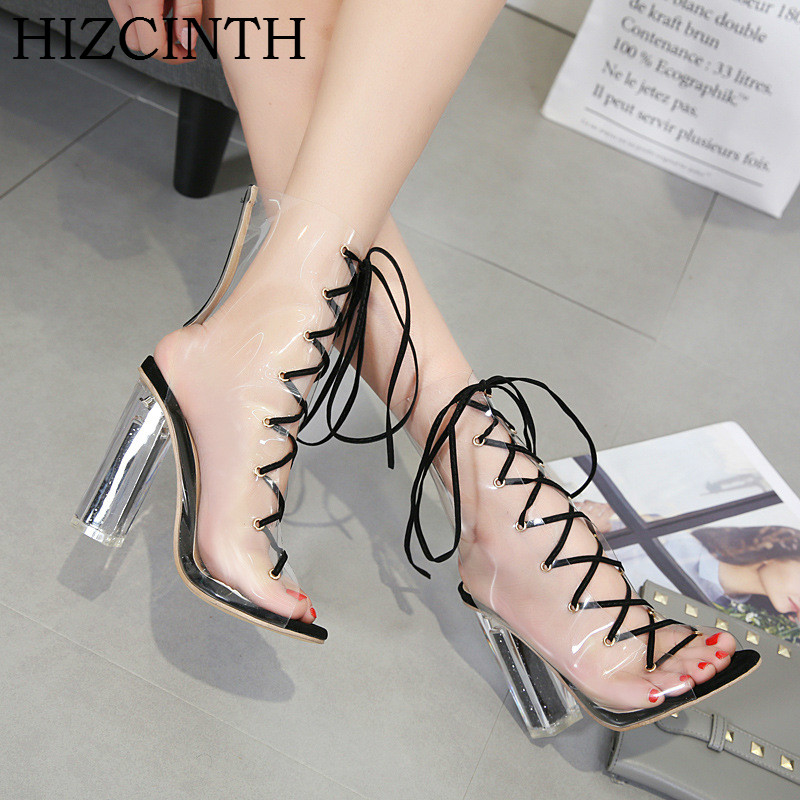HIZCINTH High Heels Sandals Women 2018 Summer Shoes Transparent Cross Straps Sexy Hollow Out Sexy Cool Sandals Boots Sandalias