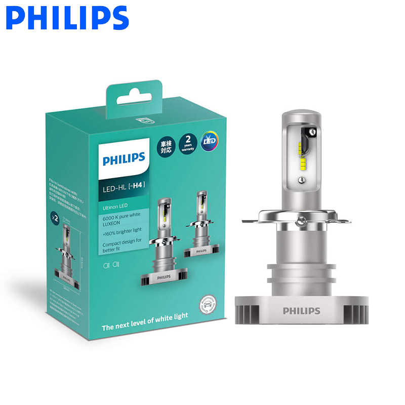 Philips LED H4 9003 Ultinon LED Auto Hi/lo Beam 6000K Cool Blue White Light +160% Brighter Compact Design 11342UL X2, Pair