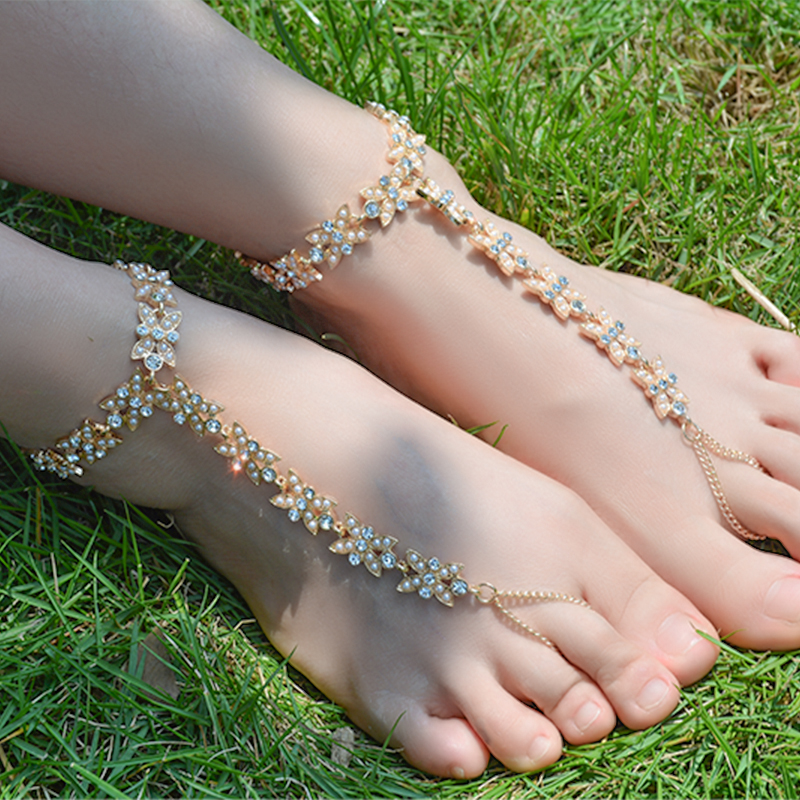 Crystal Flower Barefoot Sandals Anklet Bracelet for Women Rhinestone Bridal Toe Ankle Foot Chain Jewelry Beach Wedding