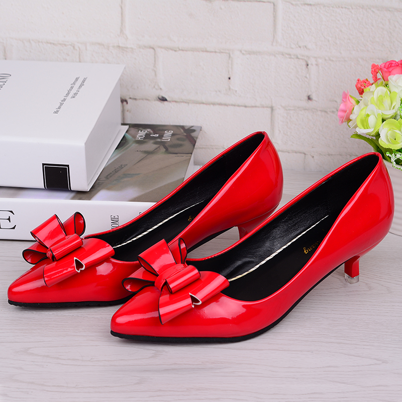 New retro fashion Women's high heels summer fine with bow versatile shallow mouth casual sexy prom wedding Women shoes