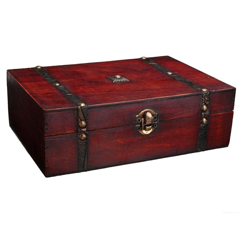 Merveilleux Euro Style Vintage Treasure Trinket Storage Box For Jewelry Pendant Gift  Retro Wood Boxes Cases 23X16X7