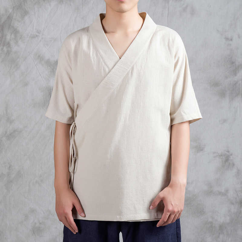 中国スタイル男性高品質コットンリネンシャツ男性カジュアル半袖ルーズシャツ