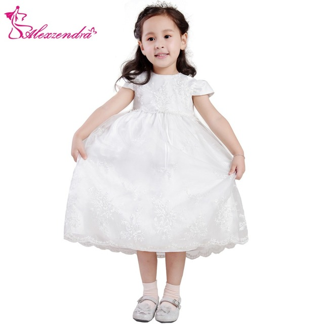 6fa9c99e19 Alexzendra White Ivory Lace Simple Flower Girls Dresses with Sleeves Cute  Girls First Communion Dress Princess Girl Dress