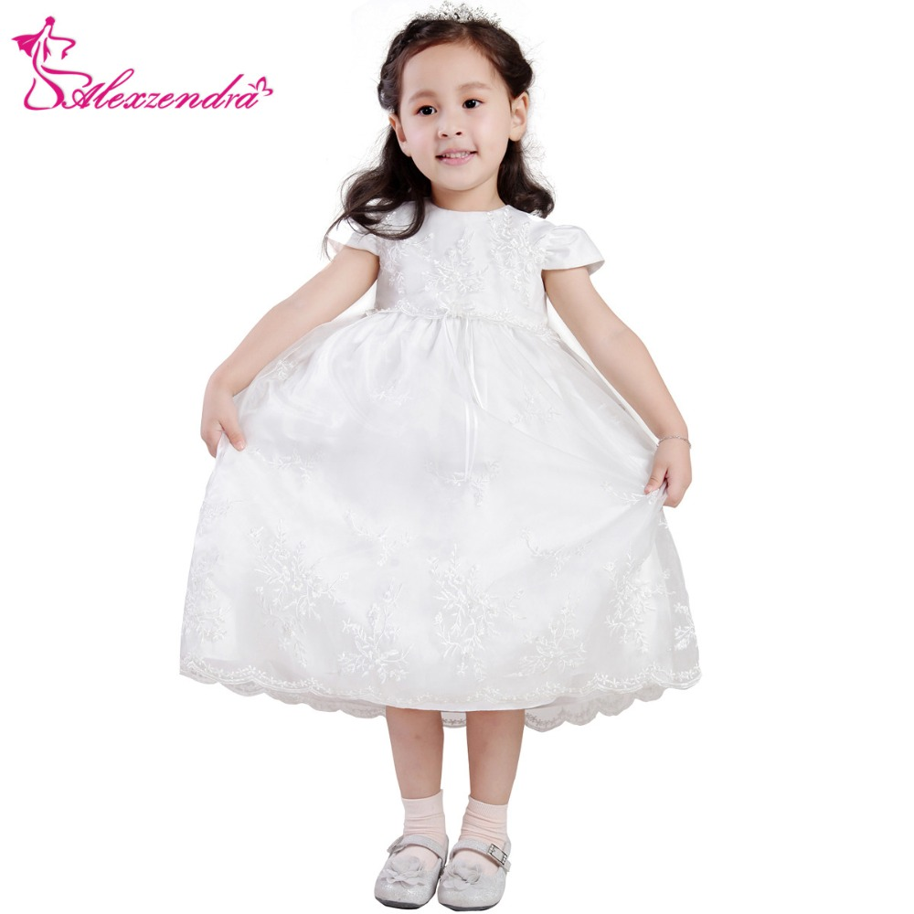 Alexzendra White Ivory Lace Simple   Flower     Girls     Dresses   with Sleeves Cute   Girls   First Communion   Dress   Princess   Girl     Dress