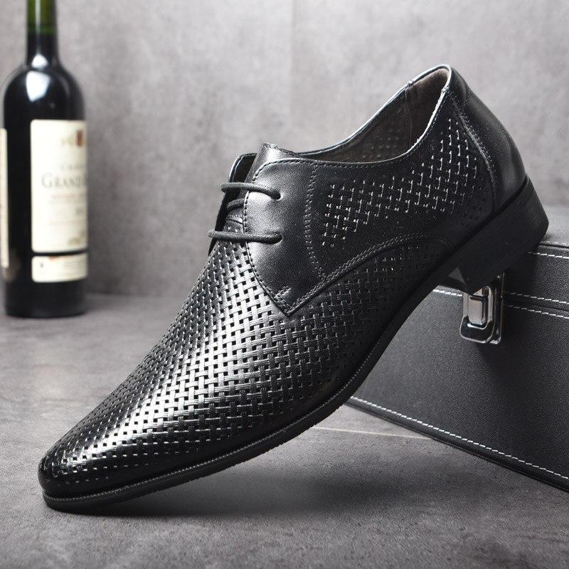 OSCO été mode formelle hommes chaussures poinçon dentelle respirant creux affaires robe chaussures en cuir véritable sandales décontractées Oxfords