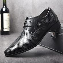 a15693058 OSCO Moda Verão Sapatas de Vestido do Negócio Dos Homens Formais Sapatos  Soco Oco Rendas Respirável Genuíno Sandálias de Couro C..