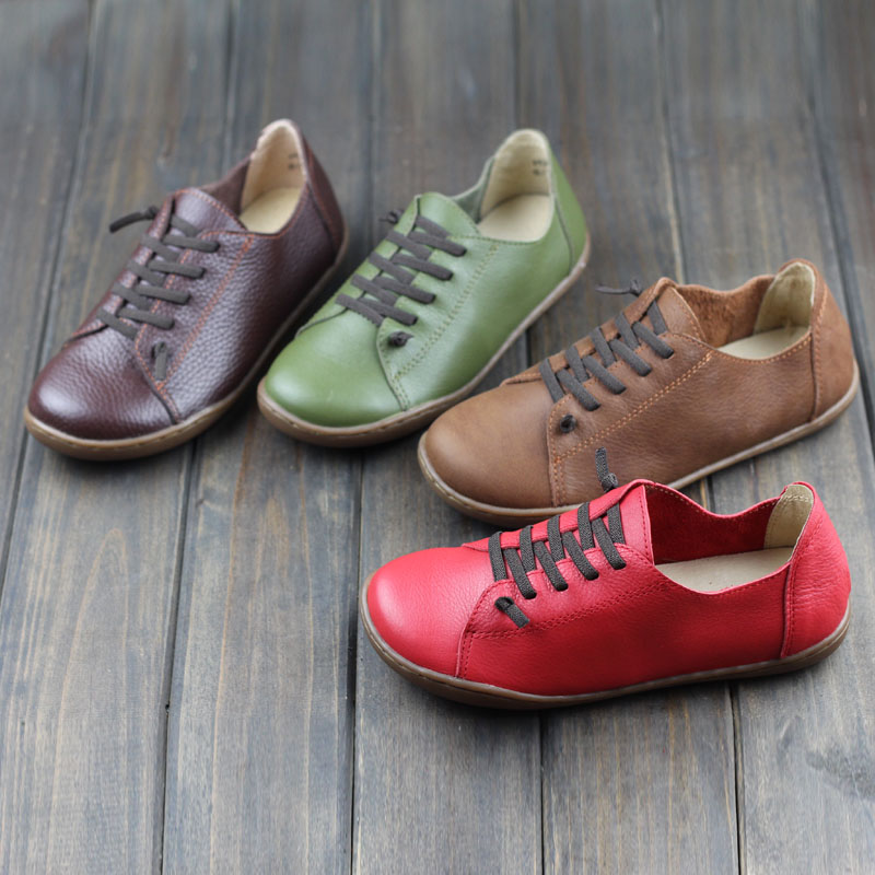 font b 2017 b font New Women Shoes Flat 100 Authentic Leather Round Toe Lace