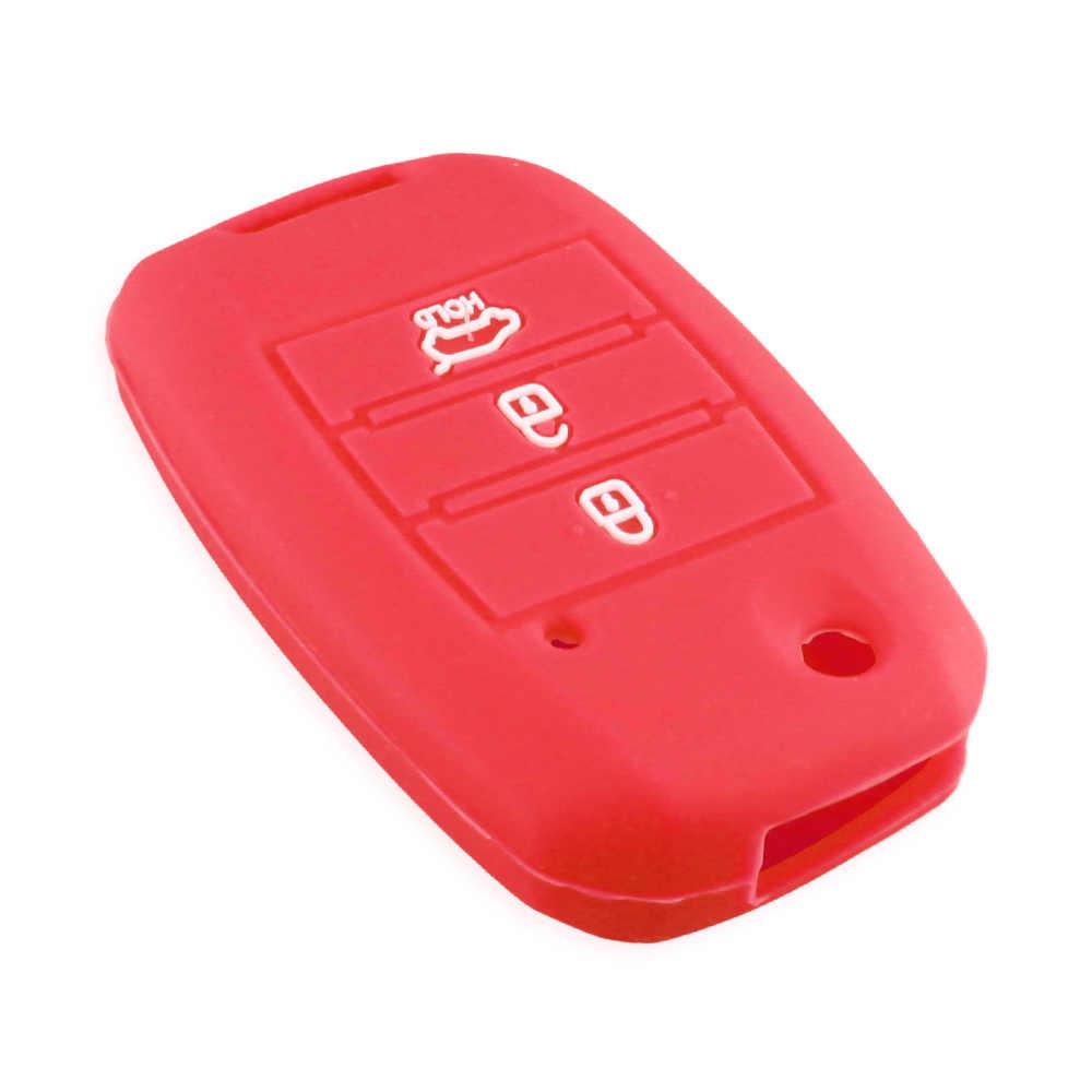 غطاء مفتاح سيارة KEYYOU مصنوع من السيليكون قابل للطي متوافق مع كيا سيد ريو سول سبورتاج Ceed سورينتو سيراتو K2 K3 K4 K5 حافظة حماية عن بعد