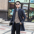 Custom made 2017 New design new arrival Dark gray coat male woolen overcoat slim outerwear trench