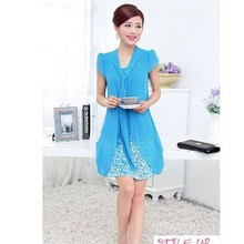 2018 New summer clothing women's shirts print chiffon maternity blouse pregnancy dress matertniy clothing