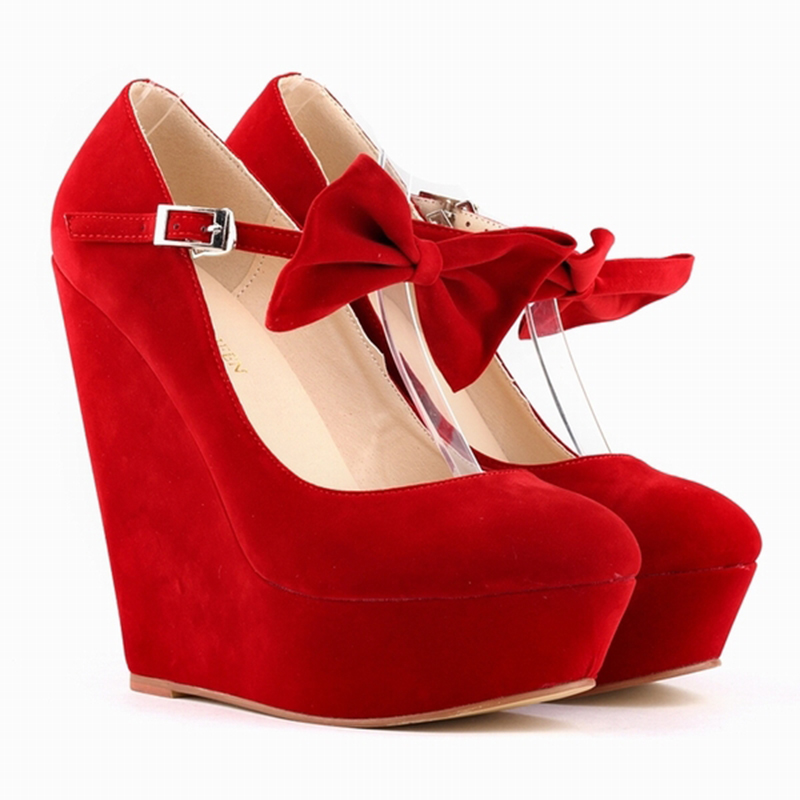 0be47fc6992 Fashion Women Velvet High Heel Shoes Platform Black Pumps Girls Sweet Bow  knot Ankle Strap Pumps Red Ladies Party Shoes 391 3VE-in Women s Pumps from  Shoes ...