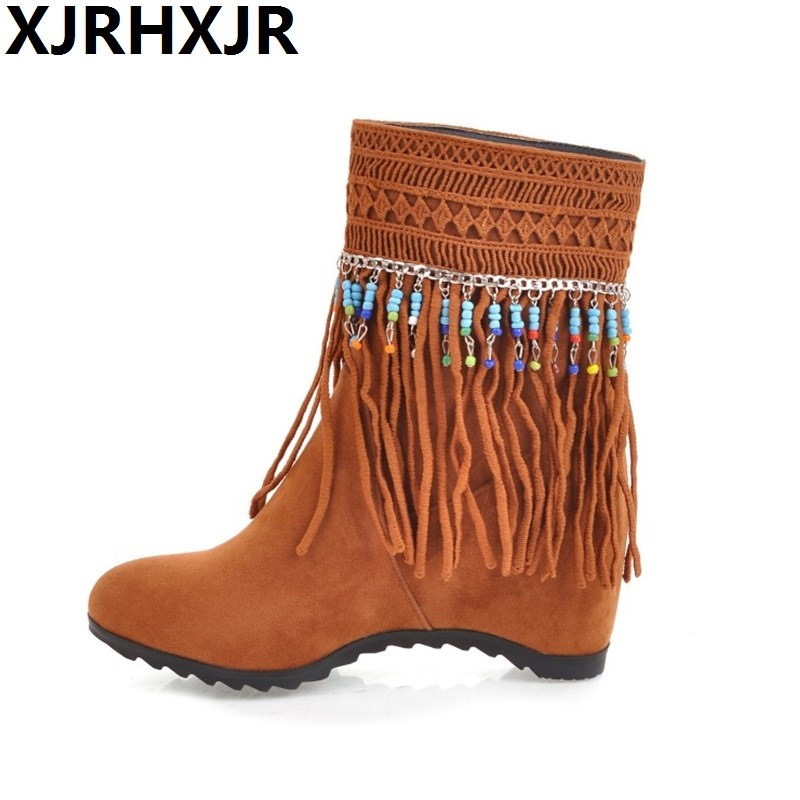 Autumn Winter Large Size 33-43 Women Tassel Boots Suede Leather Height Increasing Short Ankle Boots Ladies Bohemia Beading Shoes de la chance autumn winter genuine leather suede ankle boots wipe color fashion women s boots new short boots ladies shoes