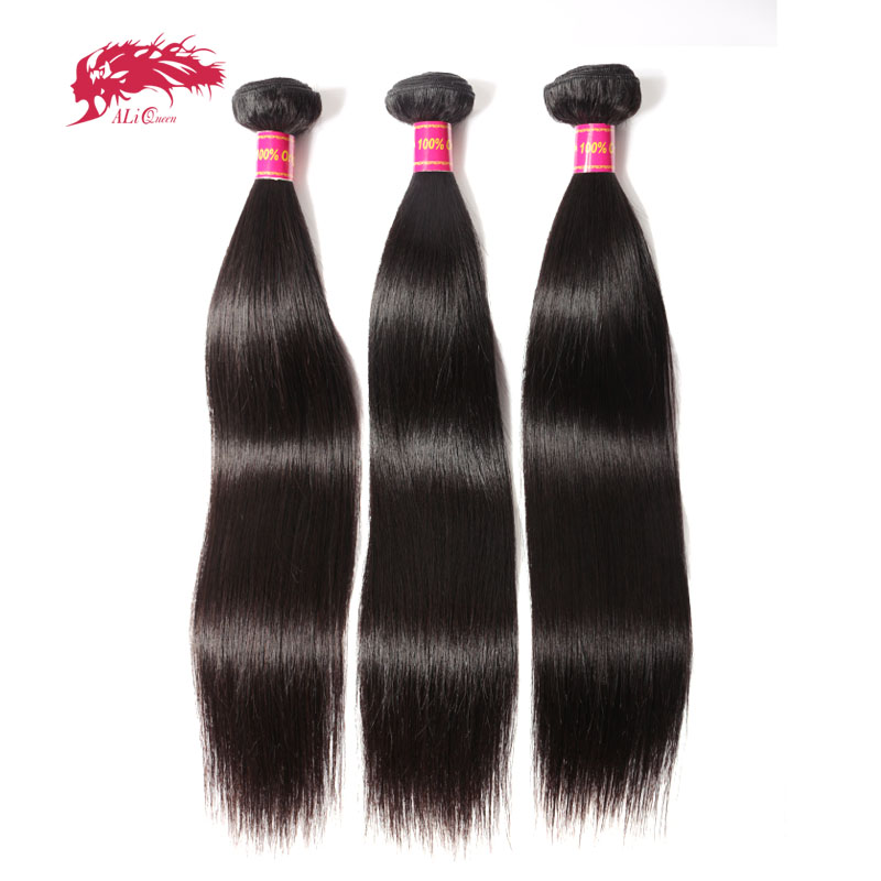 Ali Queen Hair Products Brazilian Virgin Straight Hair 3 Pcs 100% Human Hair Weave Bundles For Hair Salon Nature Color