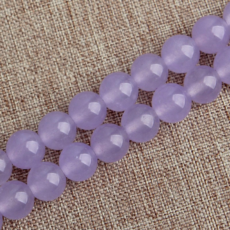 Strand 15 4mm-12mm Round Lavender Chalcedony Loose Beads for Making Jewellery