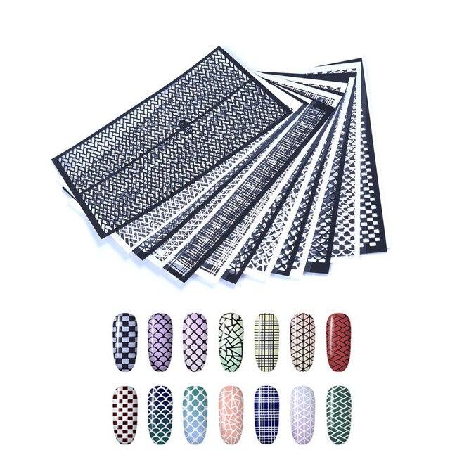 Рыбьей чешуи ногтей винилы Клей Ультра-тонкий плед чистая линия полые 3D ногтей трафарет Стикеры для маникюра Nail Книги по искусству украшения
