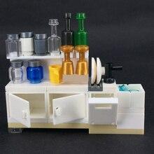 Juego de bloques de construcción de alacena para cocina, juego de bloques de construcción de ladrillos MOC DIY, para niños