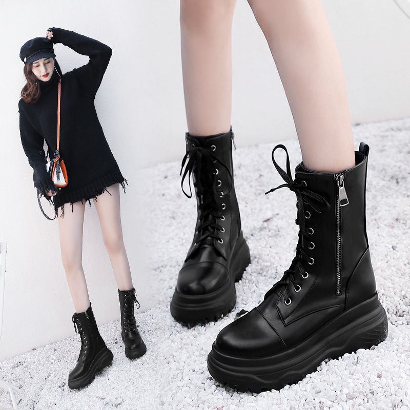 Fashion lace up Martin Boots Women s Motorcycle Boots New Waterproof Woman Punk Gothic Platform Shoes