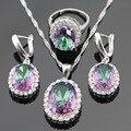 Multicolor Arco Iris Creado Topacio Blanco Plata Piedras de Color Sistemas de La Joyería Para Las Mujeres Pendientes/Collar/Colgante/Envío libre del Anillo Caja de regalo