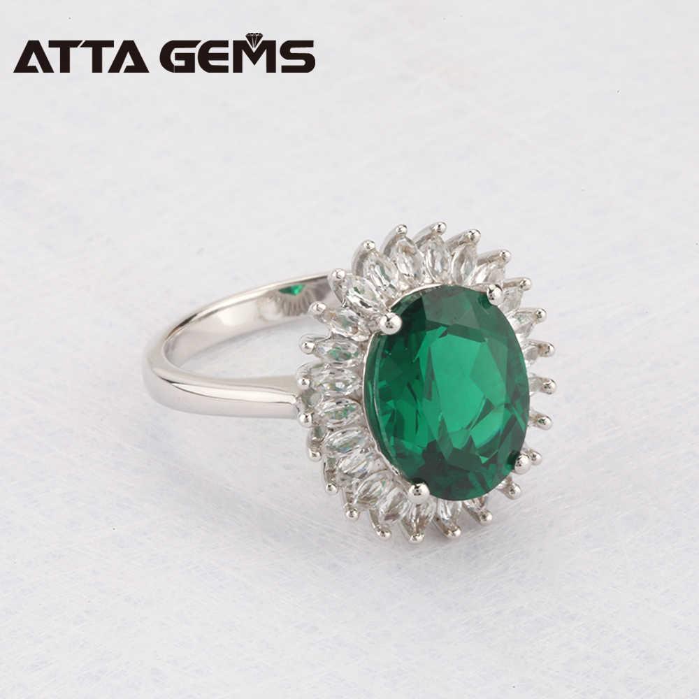 สีเขียวมรกตแหวนเงินงานแต่งงานวันเกิด 5.5 กะรัตมรกตคุณภาพสูงประณีตออกแบบเครื่องประดับ