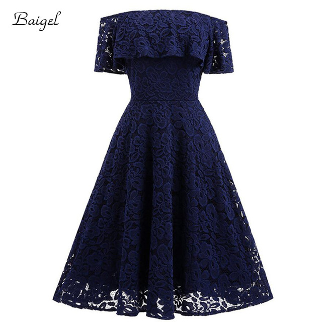 ae4bd45d78 Women s Off the Shoulder Floral Lace Summer Wedding Party Dress 50s Vintage  Rockabilly Swing Evening Party Dresses Vestiso Robe