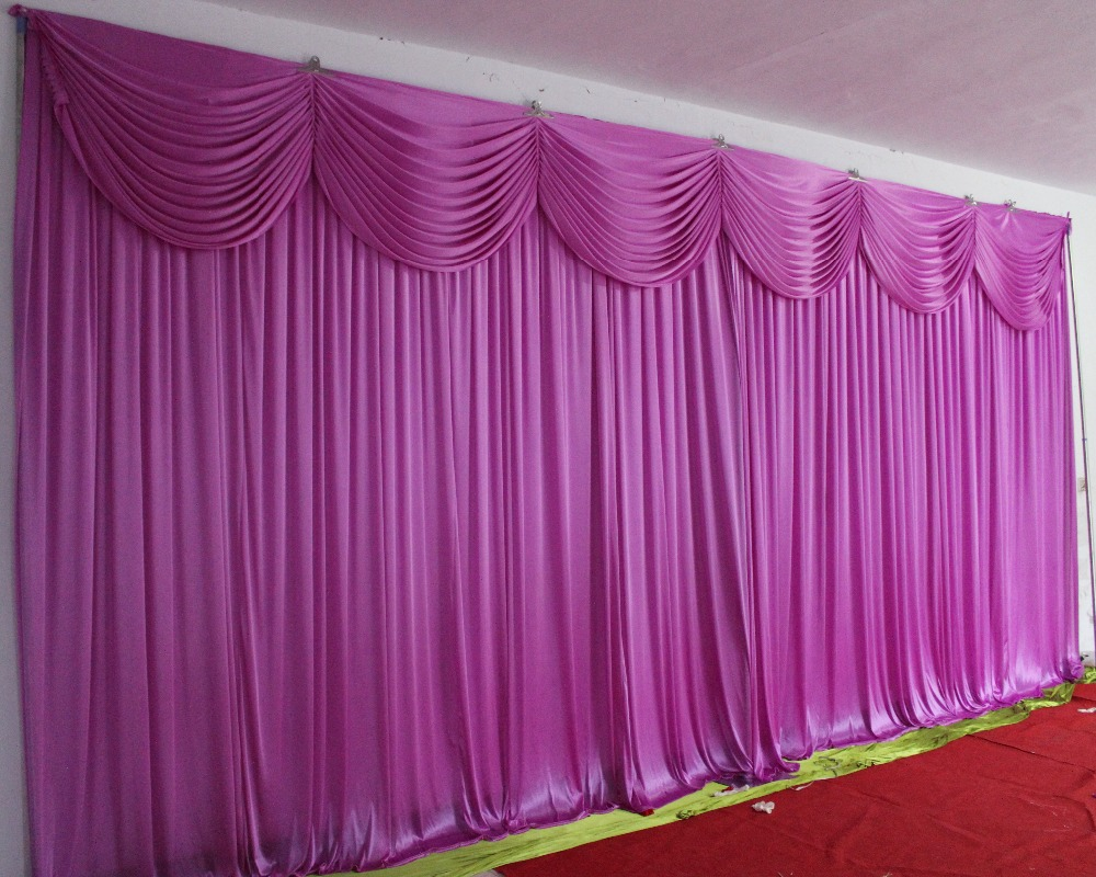 Hotsale two layer wedding backdrop curtain with swag backdrop wedding decoration romantic Ice silk stage curtains