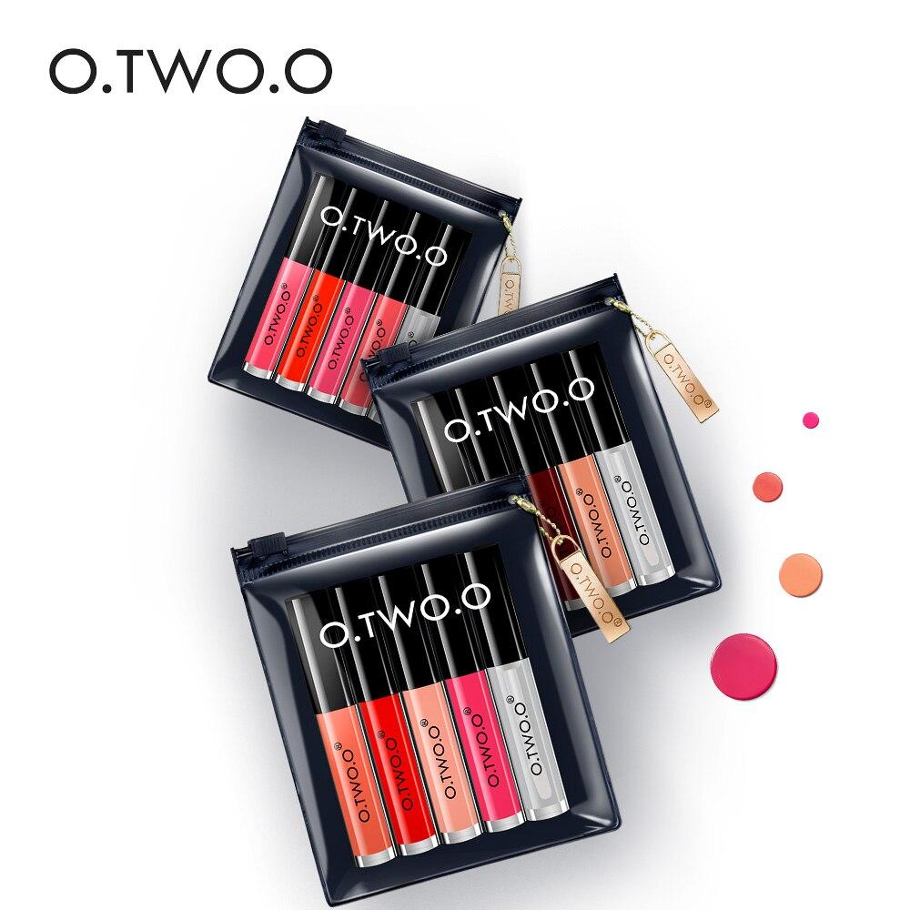 O dos O 5 piezas brillo de labios conjunto de terciopelo lápiz labial líquido maquillaje profesional mate lápiz labial Kit de labios de larga duración cosmética, Maquiagem