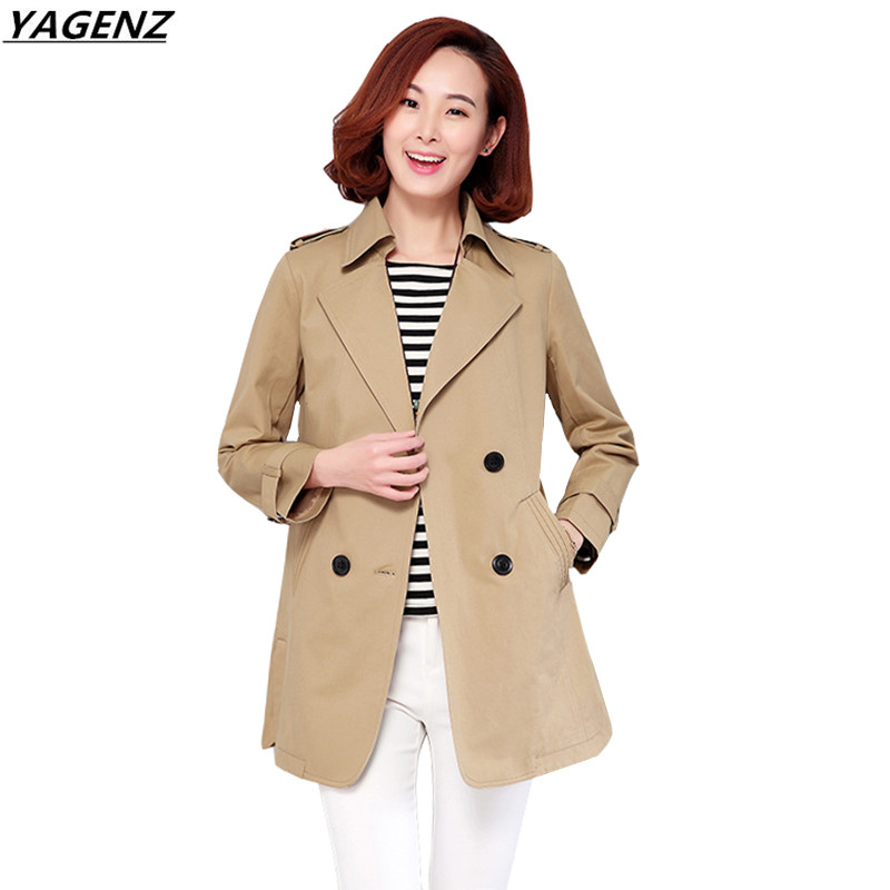 Autumn Women   Trench   coat 2017New Middle-aged Mother Clothing Double-breasted Suit Collar Windbreaker female Plus Size 4XL YAGENZ
