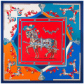 Super Large Twill Silk Women Scarf 130*130cm Euro Design French Horses Print Square Scarves High Quality Gift Fashion Silk Shawl