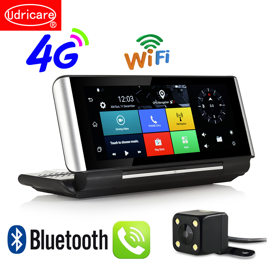 Udricare 7 pollice 4g SIM Card Android GPS WiFi Bluetooth Chiamata di Telefono Dual Lens DVR FHD 1080 p DVR 1 gb di RAM Videocamera vista posteriore GPS