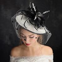 Kseniya Queen New Vintage Lace Tulle Flower Black Feather Ribbon Bridal Hat With Birdcage Veil Summer Spring Bridal Headpiece