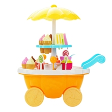 Simulation Small Carts Girl Mini Candy Cart Ice Cream Shop Supermarket Children S Toys Playing Home