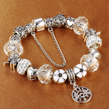 Antique 925 Silver Charm Bracelet with Life Tree Pendant Crystal Beads