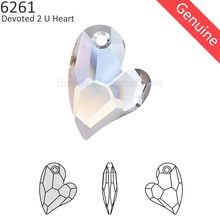 (1 piece) 100% Original Crystal from Swarovski 6261 Devoted 2 U Heart pendant made in Austria loose rhinestone for DIY jewelry(China)