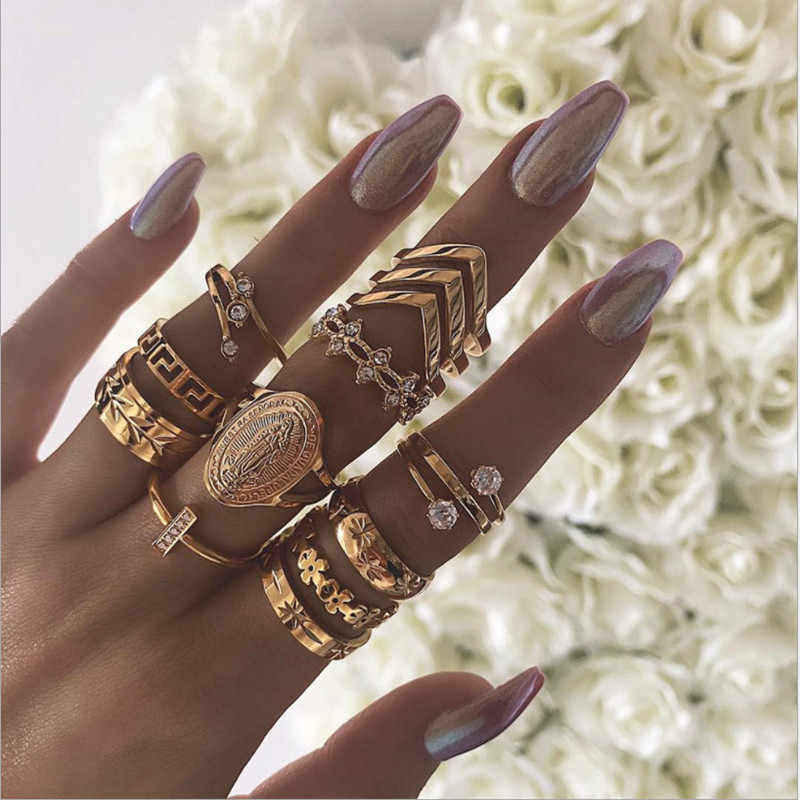 13 Pcs/set Boho Vintage Knuckle Gold Flower Leaf Rings Set Joint Punk Nail Ring Set for Women Girls Party Wedding Jewelry Gift