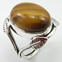 Gem Stone Jewelry Yellow & Brown Tiger's Eye Ring Sz 5.75 Silver Unique Designed