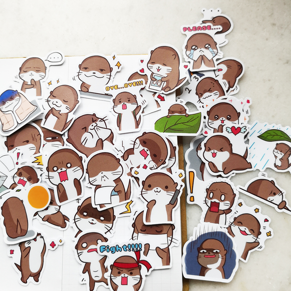 20/40pcs Cute Otter Cartoon Animal Decorative Washi Stickers Scrapbooking Stick Label Diary Stationery Album Stickers