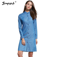 SIMPVALE Women Long Sleeve Slim Jeans Shirt Dress Spring Collar Buttons Dresses Open Slit Stand Casual