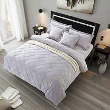 Solid Color Bedding Sets Luxury 4pcs Grey White Farley velvet King Queen Size Duvet Cover Bedspread Bedclothes Bed Linen