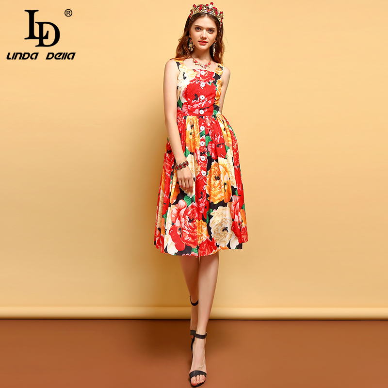 LD LINDA DELLA Fashion Runway Summer Dress Women's Spaghetti Strap Button Floral Printed Vacation Casual Elegant Dress image