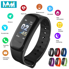 Smart Band C1S Blood Pressure Waterproof Fitness Tracker Color Screen Heart Rate Monitor Wristband Bracelet Big promotion
