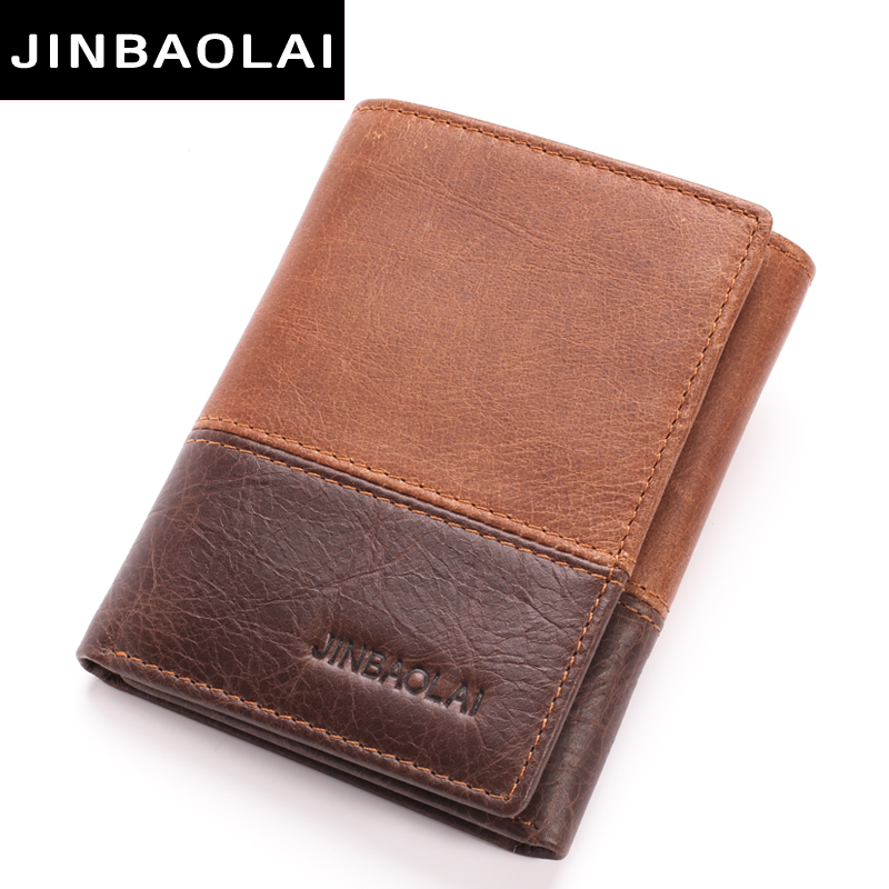 new 3 fold Genuine Leather Men Wallet Small Men Walet Hasp Male Portomonee Short Card Holder Brand Perse Carteira For Men Wallet